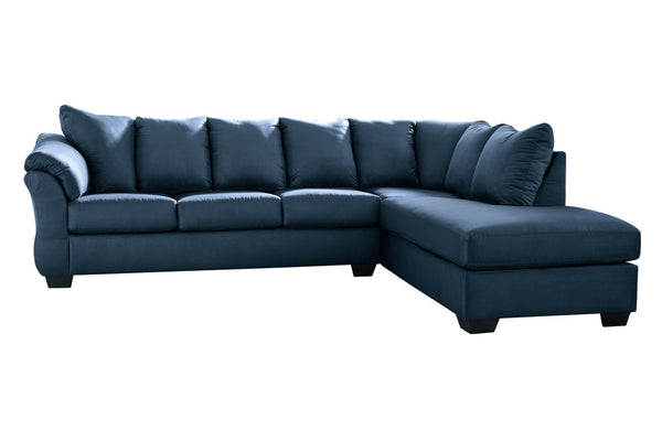 75007 Darcy Blue 2-Piece RAF Chaise Sectional