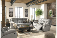 76204 Mitchiner Fog Reclining Sofa with Drop Down Table & Loveseat