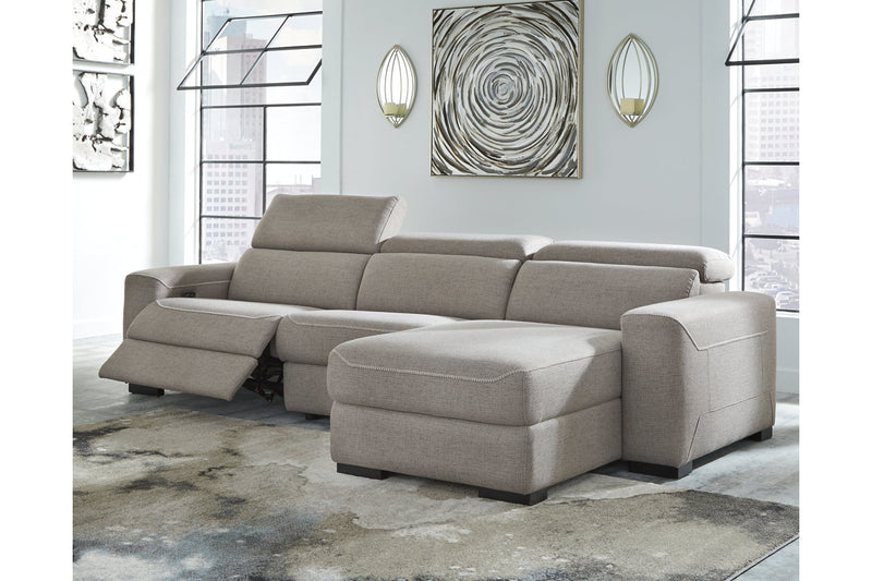 77005 Mabton Gray 3-Piece Power Reclining Sectional | 77005S1 | by Ashley | Nova Furniture