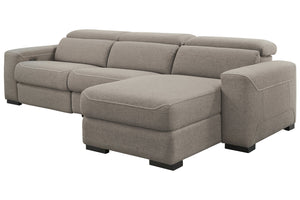 77005 Mabton Gray 3-Piece Power Reclining RAF Chaise Sectional