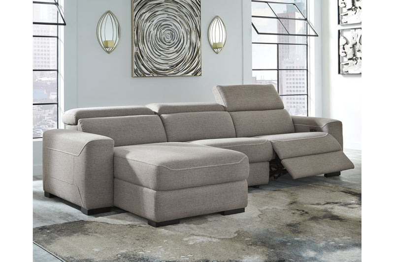 77005 Mabton Gray 3-Piece Power Reclining Sectional | 77005S2 | by Ashley | Nova Furniture