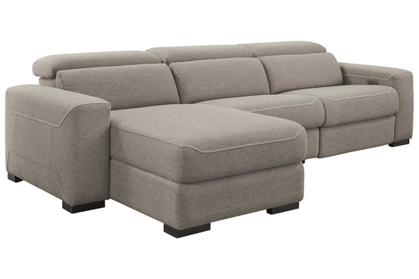 77005 Mabton Gray 3-Piece Power Reclining LAF Chaise Sectional