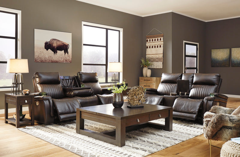 78304 Team Time Chocolate Power Reclining Sofa & Loveseat