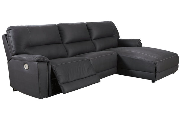 78606 Henefer Midnight 3-Piece Power Reclining RAF Chaise Sectional