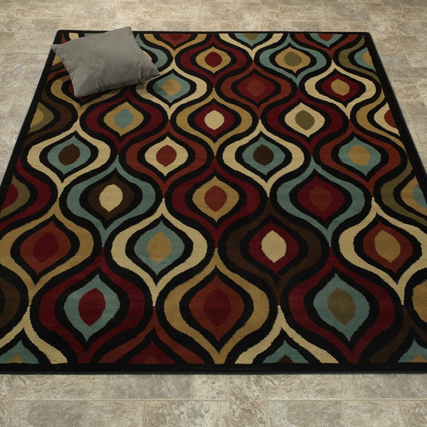 Elegant Abstract Red/Ivory/Brown Area Rug - Luna Furniture