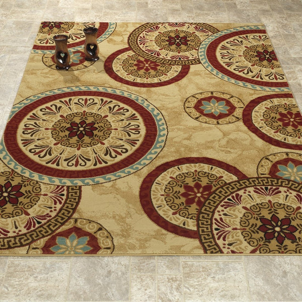 Elegant Geometric Beige/Red Area Rug - Luna Furniture
