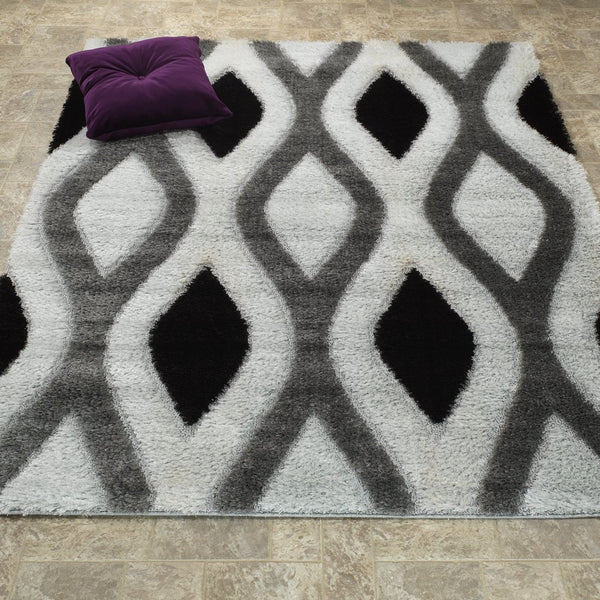 CSR3533-5X7 - Casa Shag 3D Black/Grey Area Rug