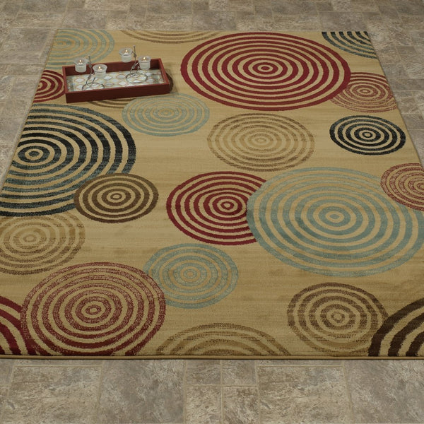 Elegant Geometric Beige/Brown/Red Area Rug - Luna Furniture