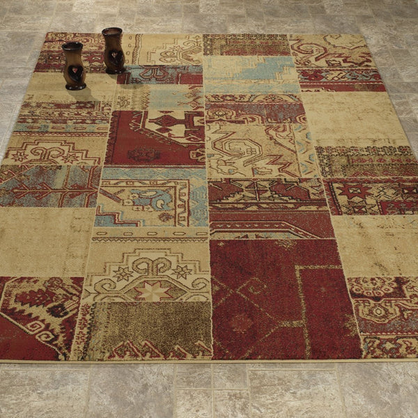 Elegant Abstract Beige/Burgundy Area Rug - Luna Furniture