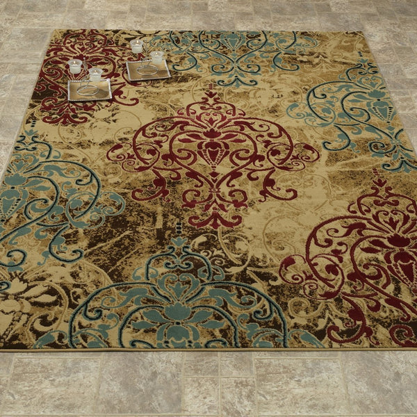 Elegant Floral and Plants Brown/Red/Teal Area Rug - Luna Furniture
