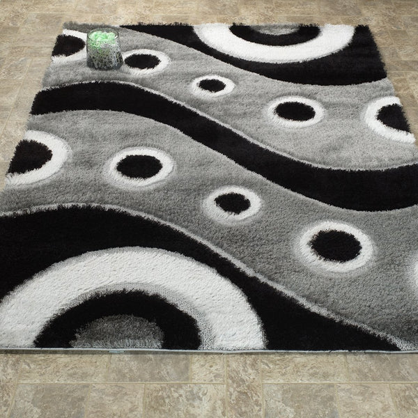 CSR3953-5X7 - Crown Shag 3D Black/Gray Area Rug
