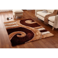 CSR4061 - Casa Regina Shaggy 3D Lines Brown/Beige 5X7 Area Rug - Luna Furniture