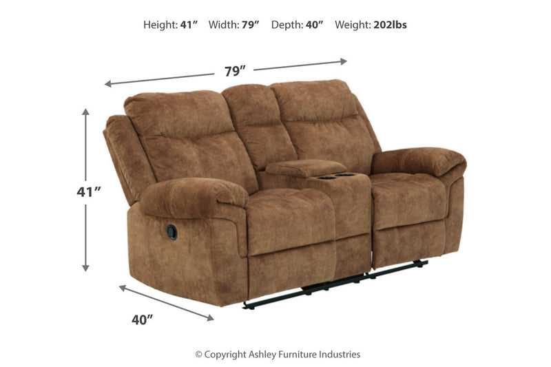 82304 Huddle-Up Nutmeg Reclining Sofa with Drop Down Table & Loveseat