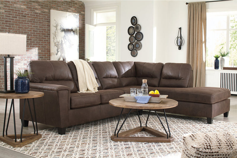 94003 Navi Chestnut 2-Piece RAF Chaise Sectional