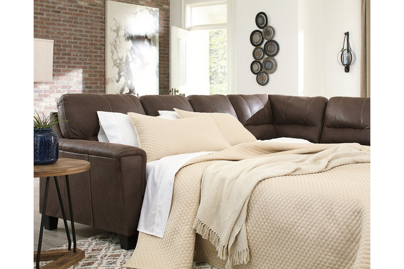94003 Navi Chestnut 2-Piece Sleeper Sectional with Chaise | 94003S4 | by Ashley | Nova Furniture