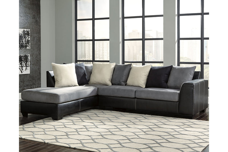 99804 Jacurso Charcoal 2-Piece Sectional with Chaise | 99804S1 | by Ashley | Nova Furniture