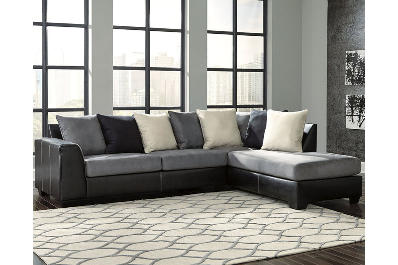 99804 Jacurso Charcoal 2-Piece Sectional with Chaise | 99804S2 | by Ashley | Nova Furniture