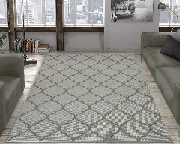 Jardin Trellis Light Gray 5X7 Indoor/Outdoor Area Rug | 9119 - Luna Furniture