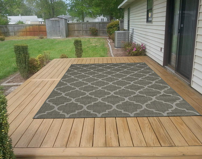 Jardin Trellis Dark Gray 5X7 Indoor/Outdoor Area Rug | 9113 - Luna Furniture
