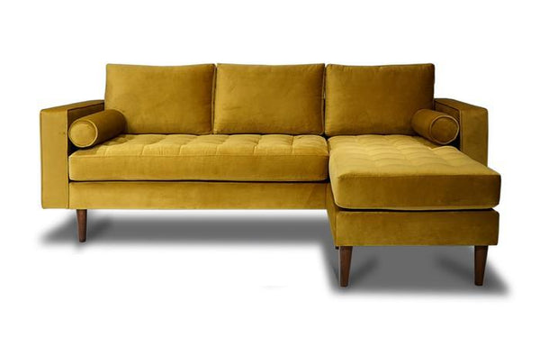 Nora Mustard Velvet Reversible Sofa Chaise - Luna Furniture