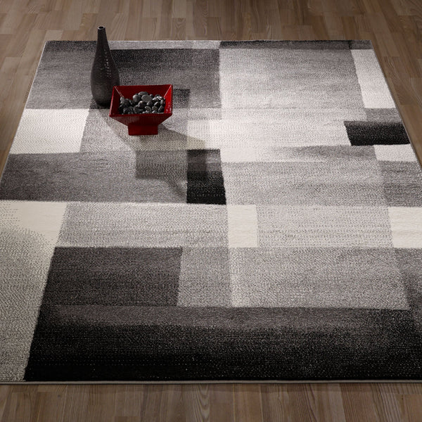 CIT3113 - City Abstract Tiles Geometric Gray/Black Area Rug - 5X7 - Luna Furniture