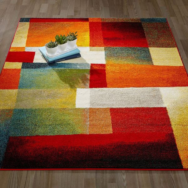CIT3116 - City Abstract Tiles Geometric Multi-Color Area Rug - 5X7 - Luna Furniture