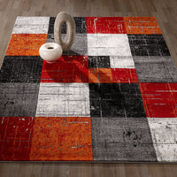 CIT3121 - City Square Tiles Geometric Red/Orange Area Rug - 5X7 - Luna Furniture