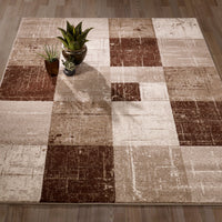 CIT3128 - City Square Tiles Geometric Brown/Beige Area Rug - 5X7 - Luna Furniture