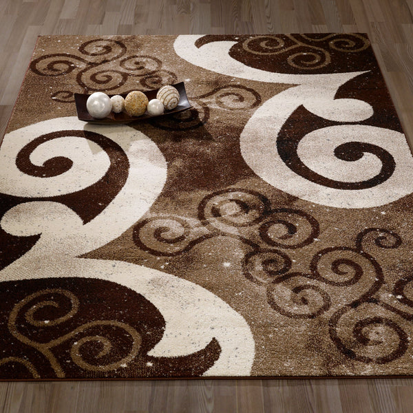 CIT3148 - City Abstract Swirl Brown/Beige Area Rug - 5X7 - Luna Furniture