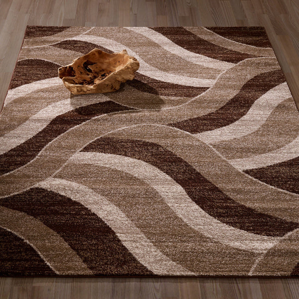 CIT3158 - City Abstract Waves Brown/Beige Area Rug - 5X7 - Luna Furniture