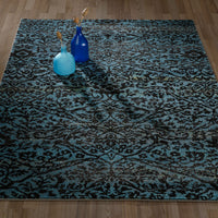 CIT3166 - City Floral Damask Blue Area Rug - 5X7 - Luna Furniture