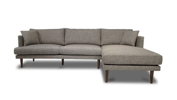 Nancy Gray Fabric RAF Sectional - Luna Furniture