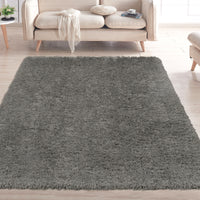 FFR1004-5X7 - Flokati Sheepskin Solid Dark Gray Area Rug