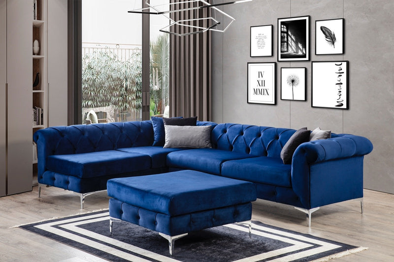 [SPECIAL] Lexi Navy Velvet LAF Sectional with Ottoman - Luna Furniture
