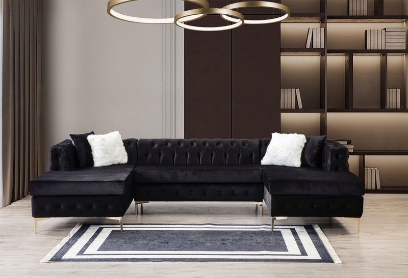 [SPECIAL] Lydia Velvet Black Double Chaise Sectional - Luna Furniture