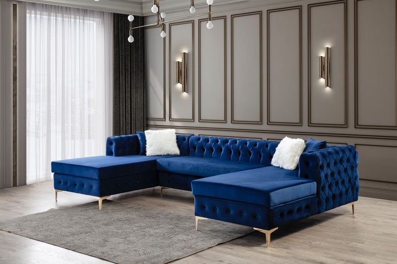 [SPECIAL] Lydia Velvet Navy Double Chaise Sectional - Luna Furniture