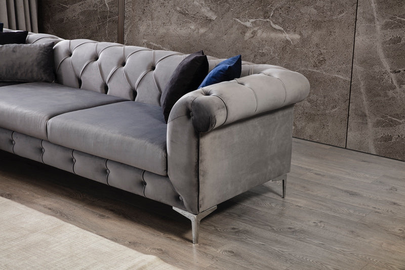 [SPECIAL] Lexi Gray Velvet LAF Sectional with Ottoman - Luna Furniture