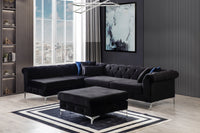 [SPECIAL] Lexi Black Velvet LAF Sectional with Ottoman - Luna Furniture