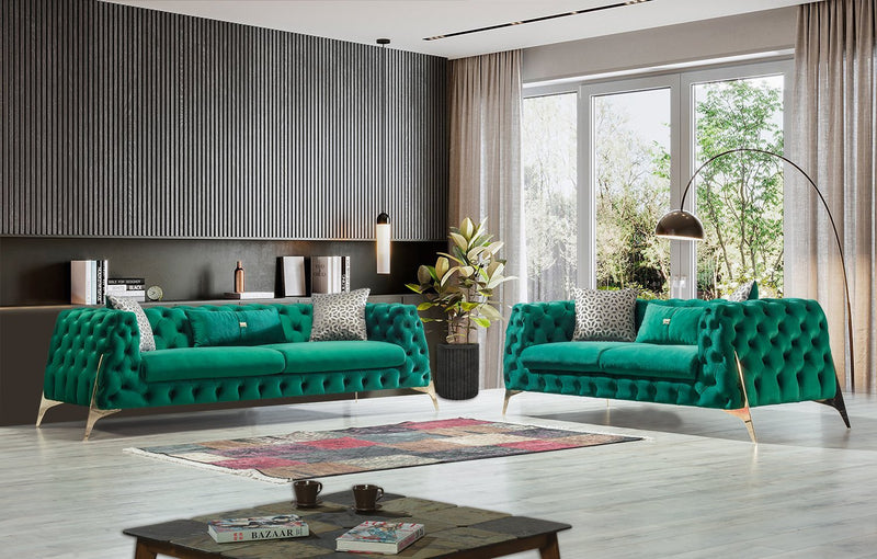 Iris Green Velvet Sofa & Loveseat - Luna Furniture