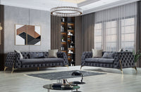 Iris Gray Velvet Sofa & Loveseat - Luna Furniture