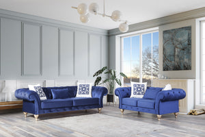 Loretta Blue Velvet Sofa & Loveseat - Luna Furniture