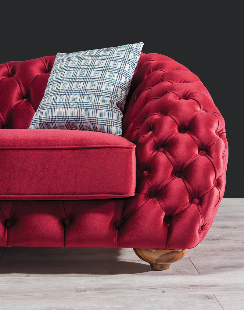 Dalia Red Velvet Sofa & Loveseat