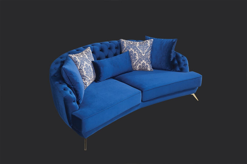 Lilla Blue Velvet Sofa & Loveseat - Luna Furniture