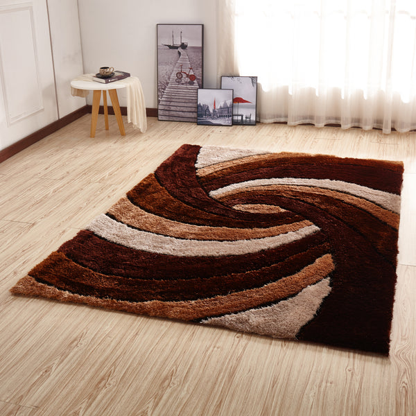 CSR2031-5X7 - Crown Shag 3D Brown/Ivory/White Area Rug