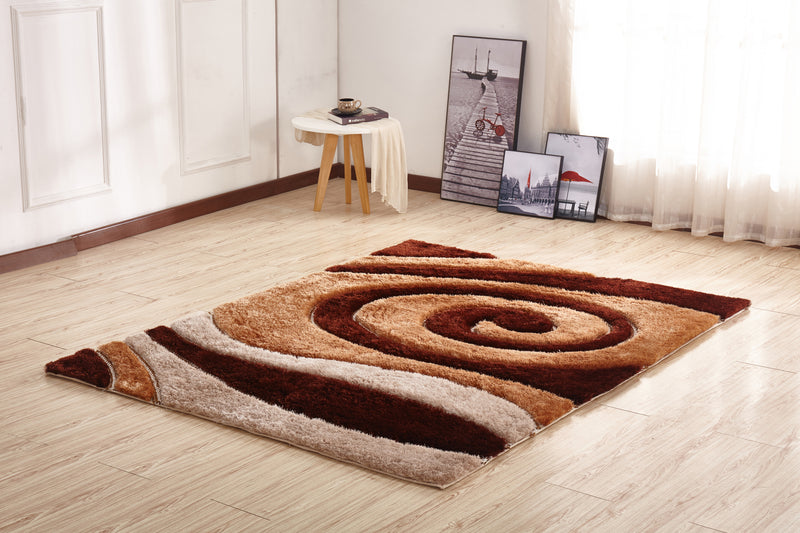 CSR2051-5X7 - Crown Shag 3D Brown/Ivory Area Rug