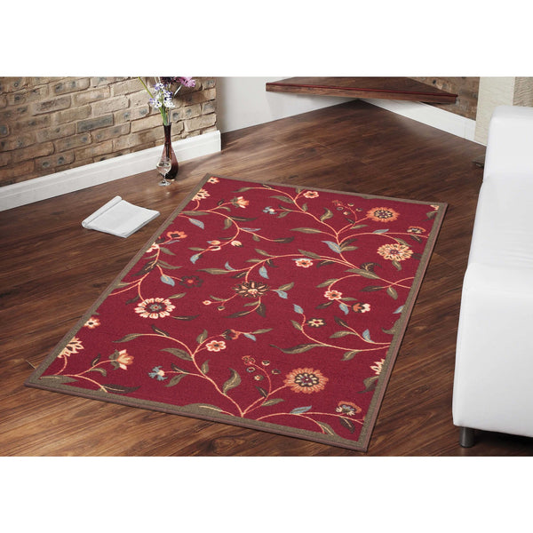 Ottohome Floral Garden Rubber Backing Dark Red Rug - Luna Furniture