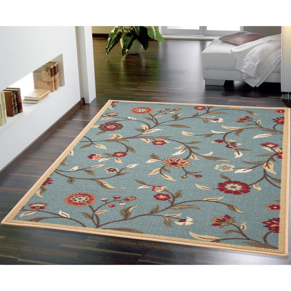 Ottohome Floral Garden Rubber Backing Sage Green Rug - Luna Furniture