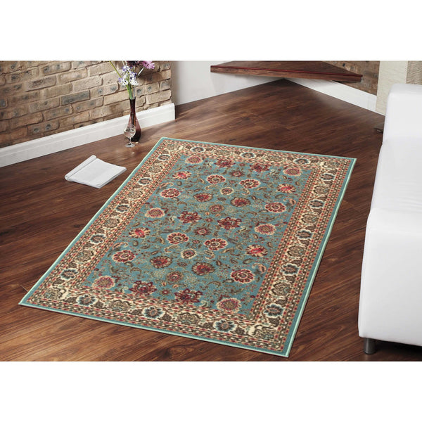 Ottohome Floral Rubber Backing Sage Green Rug - Luna Furniture