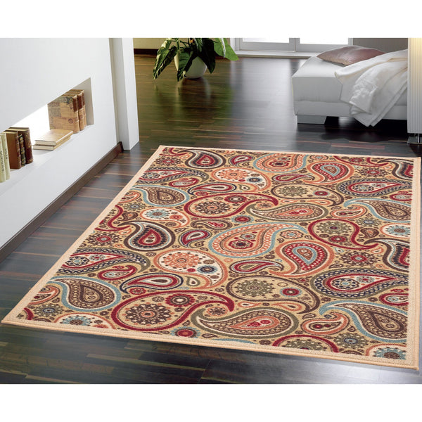 Ottohome Paisley Rubber Backing Beige Rug - Luna Furniture