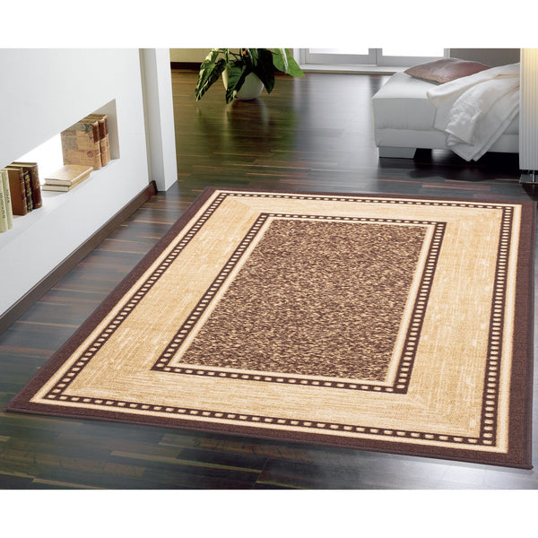 Ottohome Bordered Rubber Backing Brown Rug - Luna Furniture